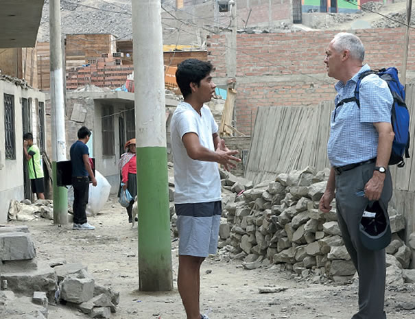 Fr. John Boles on the streets of his parish in Lima, Peru